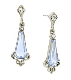 Downton Abbey® Silvertone Crystal and Light Blue Stone Drop Earrings