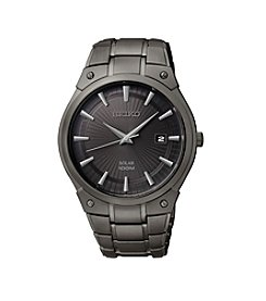 Seiko® Men's Black Ion Finish Solar Calendar Dress Watch