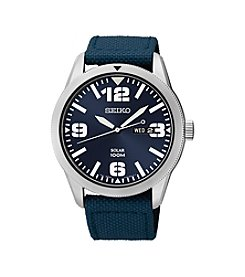 Seiko® Men's Blue Dial Blue Nylon Strap Solar Watch