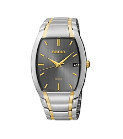 Seiko® Men's Two-Tone Tonneau Shaped Solar Dress Watch