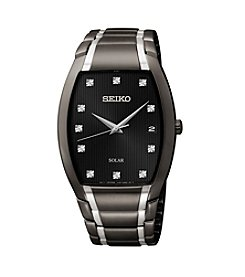 Seiko® Men's Black Ion Finish Diamond Dial Solar Dress Watch
