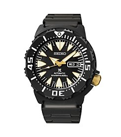Seiko® Men's Black Ion Finish Stainless Steel Automatic Watch