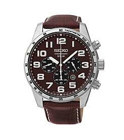 Seiko® Men's Brown Leather Strap Solar Chronograph Watch