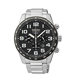 Seiko® Men's Silvertone Solar Chronograph Watch