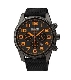 Seiko® Men's Black Ion Finish Nylon Strap Solar Chronograph Watch