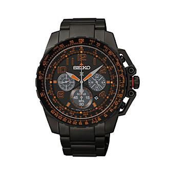 Seiko® Men's Black Ion Finish Prospex Aviator Solar Chronograph Watch