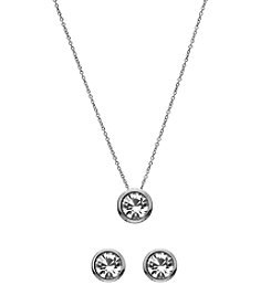 OroClone Swarovski® Clear Crystal April Birthstone Necklace and Earrings Set