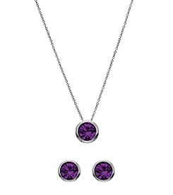 OroClone Swarovski® Dark Amethyst Crystal February Birthstone Necklace and Earrings Set
