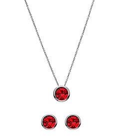 OroClone Swarovski® Light Siam Crystal July Birthstone Necklace and Earrings Set