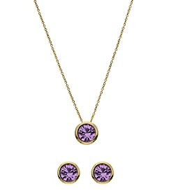 OroClone Swarovski® Light Amethyst Crystal June Birthstone Necklace and Earrings Set