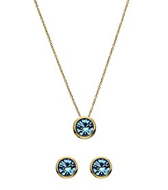 OroClone Swarovski® Aquamarine Crystal March Birthstone Necklace and Earrings Set
