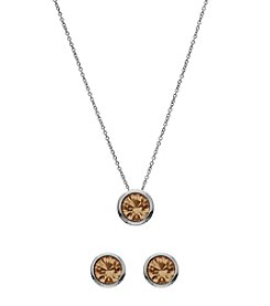 OroClone Swarovski® Light Colorado Crystal November Birthstone Necklace and Earrings Set