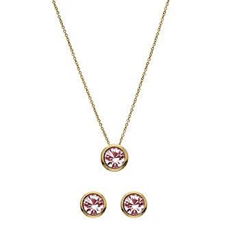 OroClone Swarovski® Light Rose Crystal October Birthstone Necklace and Earrings Set