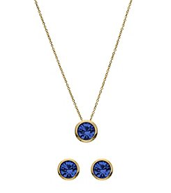 OroClone Swarovski® Sapphire Crystal September Birthstone Necklace and Earrings Set