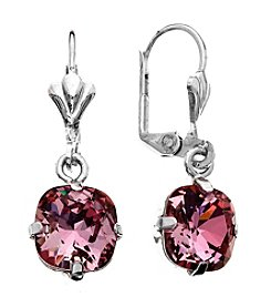 OroClone Cushion Cut Swarovski® Crystal Earrings in Antique Pink Crystal