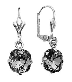 OroClone Cushion Cut Swarovski® Crystal Earrings in Black Diamond Crystal