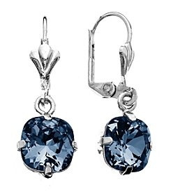 OroClone Cushion Cut Swarovski® Crystal Earrings in Denim Blue Crystal