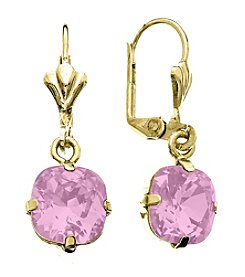 OroClone Cushion Cut Swarovski® Crystal Earrings in Rose Water Opal Crystal