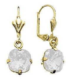OroClone Cushion Cut Swarovski® Crystal Earrings in White Opal Crystal