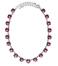 OroClone Cushion Cut Swarovski® Crystal Necklace in Antique Pink Crystal