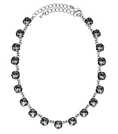 OroClone Cushion Cut Swarovski® Crystal Necklace in Black Diamond Crystal
