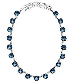 OroClone Cushion Cut Swarovski® Crystal Necklace in Denim Blue Crystal