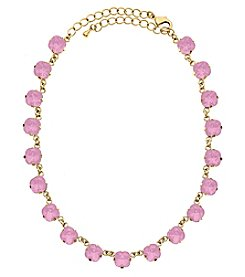 OroClone Cushion Cut Swarovski® Crystal Necklace in Rose Water Opal Crystal