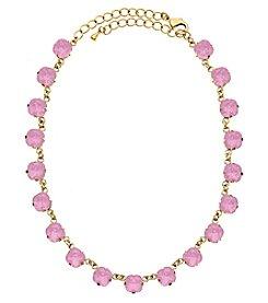 OroClone Cushion Cut Swarovski® Crystal Necklace in Rose Water Opal Crystal