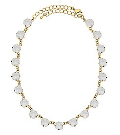 OroClone Cushion Cut Swarovski® Crystal Necklace in White Opal Crystal