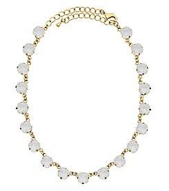 OroClone Cushion Cut Swarovski® Crystal Necklace in White Opal Crystal