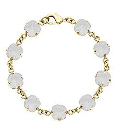 OroClone Cushion Cut Swarovski® Crystal Bracelet in White Opal Crystal