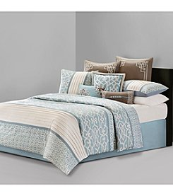 N Natori Fretwork Aqua Bedding Collection