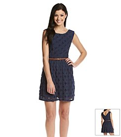 City Triangles® Lace Belted Dress