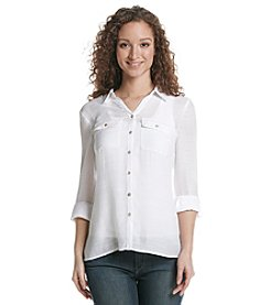 Notations® Solid Button Up Blouse