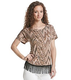 Notations® Abstract Print Fringe Tunic