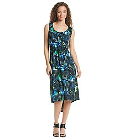 Notations® Palm Print High-Low Dress