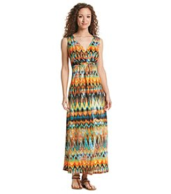 Notations® Printed Twist Front Maxi Dress