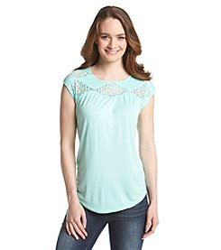 Vince Camuto® Lace Yoke Gathered Tee