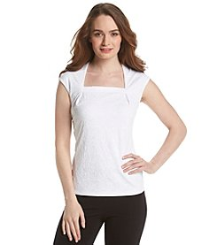 Kasper® Textured Square Neck Top