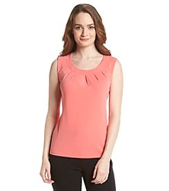 Kasper® Topstitch Pleatneck Top