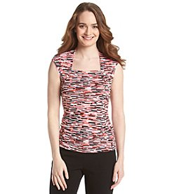 Kasper® Printed Square Neck Top