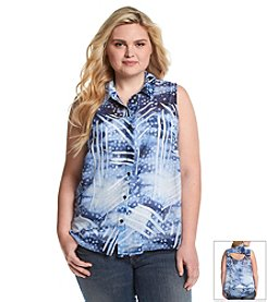 Jessica Simpson Plus Size Francisca Collared Top
