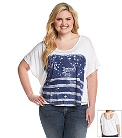 Jessica Simpson Plus Size Sylvia Distressed Flag Crop Top