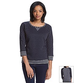 Jones New York Sport® Polka Dot Stripe Pullover Sweater