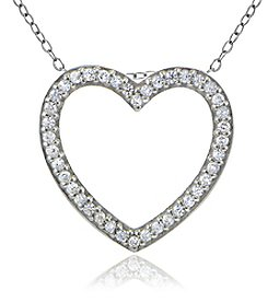 Designs by FMC Sterling Silver Cubic Zirconia Heart Slide Pendant Necklace