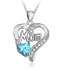 Designs by FMC Sterling Silver Mom Cubic Zirconia Pendant Necklace with Aqua Heart