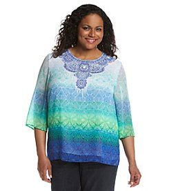 Alfred Dunner® Plus Size Catalina Island Ombre Medallion Print Top