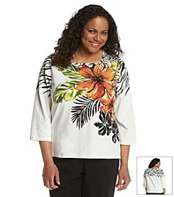 Alfred Dunner® Plus Size Animal Magnetism Tropical Floral Knit Top