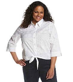 Alfred Dunner® Plus Size Paradise Island Tie Front Embroidered Top