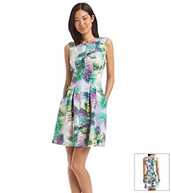 Julian Taylor Tropical Floral Scuba Dress
